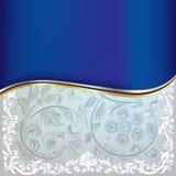Ornamento floral azul abstrato em um branco ilustração stock
