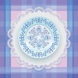 Ornamento floral azul em uma placa ilustração royalty free