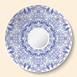 Ornamento floral azul redondo Denominação baseada pintura na porcelana do chinês ou do russo O teste padrão é aplicado à placa de Imagem de Stock