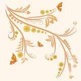 Ornamento floral com borboletas ilustração stock