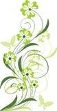 Ornamento floral com borboletas Fotografia de Stock