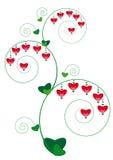 Ornamento floral com corações Ilustração do Vetor