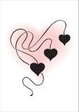 Ornamento floral com corações () Imagens de Stock Royalty Free