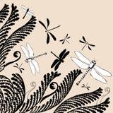 Ornamento floral com libélulas ilustração royalty free