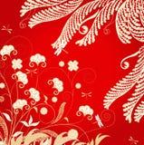 Ornamento floral com libélulas ilustração stock
