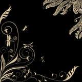 Ornamento floral com libélulas: Vetor Imagem de Stock