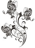 Ornamento floral con la mariposa Imágenes de archivo libres de regalías