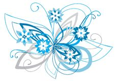 Ornamento floral curvado azul Ilustração Royalty Free