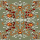 Ornamento floral de Brown em uma cor cinzenta ilustração royalty free