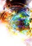 Ornamento floral de Filigrane con forma de la mandala en el backgrond cósmico, collage del ordenador Efecto de fuego libre illustration