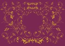 Ornamento floral dourado no fundo do lilac Fotos de Stock Royalty Free