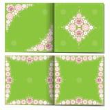Ornamento floral en el folleto doble de la plantilla Fotografía de archivo