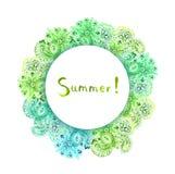 Ornamento floral - guirnalda adornada decorativa Tarjeta de verano de la acuarela Fotos de archivo libres de regalías