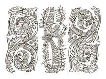 Ornamento floral hermoso para su negocio Línea diseño adornado del drenaje de la mano de la flor del arte Imagen de archivo libre de regalías