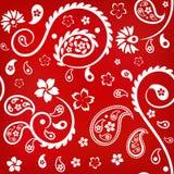 Ornamento floral inconsútil con los pepinos (indios) turcos, blancos en fondo rojo Imagen de archivo