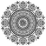 Ornamento floral indio afiligranado hermoso Mandala étnica alheña Imagenes de archivo