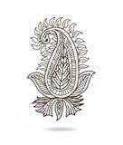 Ornamento floral indio hermoso para su negocio Línea diseño adornado del drenaje de la mano de la flor del arte Fotografía de archivo