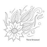 Ornamento floral no estilo indiano do mehndi Fotografia de Stock Royalty Free