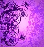 Ornamento floral púrpura con la mariposa Fotografía de archivo