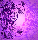 Ornamento floral roxo com borboleta Fotografia de Stock