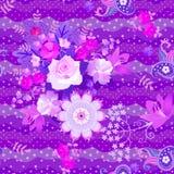 Ornamento floral sem emenda luxuoso com paisley e flor da mandala nos tons violetas no fundo original do ?s bolinhas Tela de seda ilustração do vetor