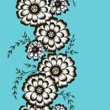 Ornamento floral sob a forma dos camomiles em um backgr azul ilustração stock