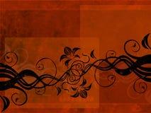Ornamento floral sobre o grung vermelho ilustração stock
