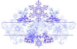 Ornamento floral y copos de nieve libre illustration