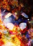 Ornamento floral y mariposa de Filigrane backgrond cósmico, collage del ordenador stock de ilustración