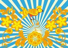 Ornamento floral y pájaro abstractos Stock de ilustración