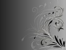 Ornamento floreale astratto d'angolo su fondo in bianco e nero Fotografia Stock Libera da Diritti