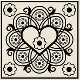 Ornamento floreale astratto del cuore Fotografia Stock