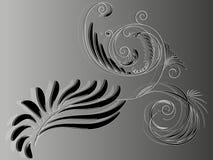 Ornamento floreale in bianco e nero astratto elementare per progettazione Fotografia Stock