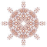 Ornamento floreale circolare Mehndi Henna Tattoo Mandala, marrone di Yantra Immagine Stock