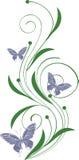 Ornamento floreale con le farfalle illustrazione vettoriale