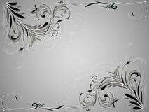 Ornamento floreale d'annata astratto angolare su fondo in bianco e nero Fotografia Stock