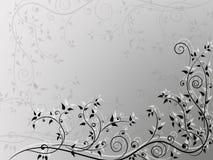 Ornamento floreale d'annata astratto angolare su fondo in bianco e nero Fotografie Stock