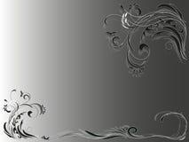 Ornamento floreale d'annata astratto angolare su fondo grigio Fotografia Stock