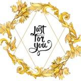 Ornamento floreale del monogramma dell'oro Insieme dell'illustrazione del fondo dell'acquerello Quadrato dell'ornamento del confi illustrazione vettoriale