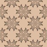Ornamento floreale di Brown su fondo beige Reticolo senza giunte Immagini Stock Libere da Diritti