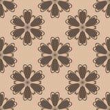 Ornamento floreale di Brown su fondo beige Reticolo senza giunte Fotografia Stock