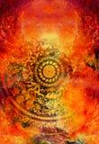 Ornamento floreale di Filigrane con forma della mandala su backgrond cosmico, collage del computer Effetto di fuoco royalty illustrazione gratis