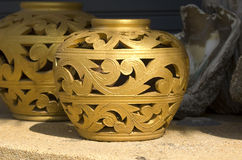 Ornamento floreale dorato Fotografie Stock