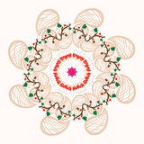 Ornamento floreale rotondo con le piccole bacche Fotografie Stock Libere da Diritti