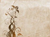 Ornamento floreale sopra vecchio documento Immagine Stock Libera da Diritti