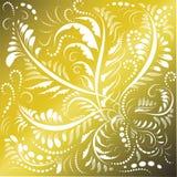 Ornamento floreale su un fondo dell'oro Fondo d'annata con il motivo floreale Vettore Immagini Stock Libere da Diritti