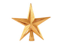 Ornamento a forma di stella brillante dorato i di natale Fotografie Stock Libere da Diritti