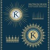 Ornamento frondoso Cepillos para crear un marco decorativo Ahorrado en la paleta Monograma del vintage Modelo rico stock de ilustración