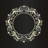 Ornamento frondoso Frame decorativo do vintage Beira para o monograma Teste padrão de prata luxuoso ilustração do vetor