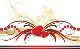 Ornamento gótico com corações. Composição romântica Fotografia de Stock Royalty Free
